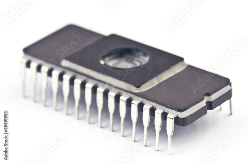 Electronic chip isolated on white base