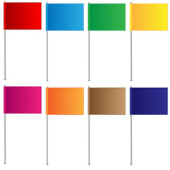 varicoloured flags on a white background