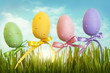 Easter pastel colored eggs