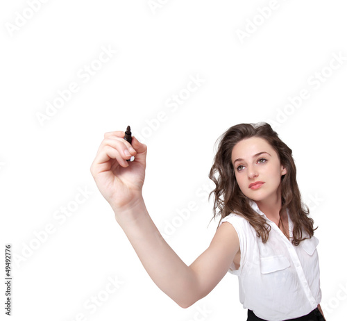 Young woman drawing on wihteboard