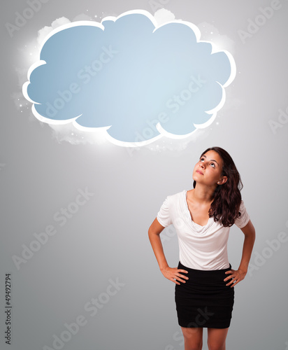 pretty woman looking abstract cloud copy space