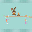 Bunny On Tree Pulling Handcart Easter Basket Retro Dots