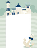 vector illustration with town and sea