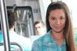 Girl riding tram