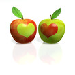 Red apple with green heart and green Apple with red heart