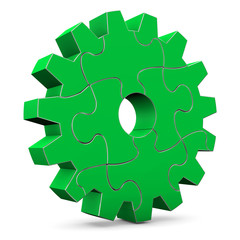 Green Puzzle Gear Wheel