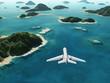 aircraft flies over a sea