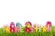 Frohe Ostern Text auf Wiese