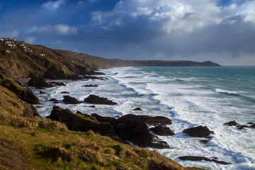 Seascape - Cornwall - sea with white surf - Whitsand Bay.