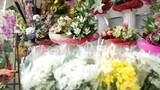Fresh Flower Arrangements In Florist Shop, Pan Shot