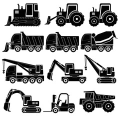Heavy duty machines ,black & white icon Set
