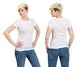 Cute female with blank white shirt