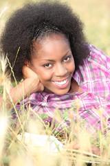 portrait of a woman in a field