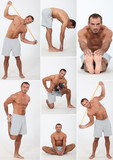 muscular man doing stretching and fitness