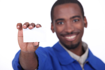 worker showing business card