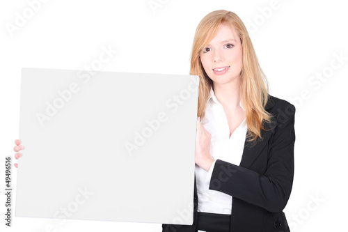 Businesswoman promoting her company