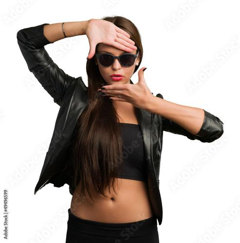 Woman Showing Finger Frame