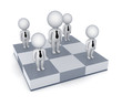 3d small people on a chessboard.