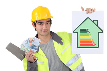 Tradesman holding up money
