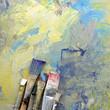 canvas print picture - pinsel mit farbe auf gemaltem hintergrund
