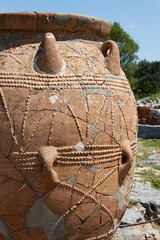 Detail of cretan Pithos in Malia archaeological site - Crete