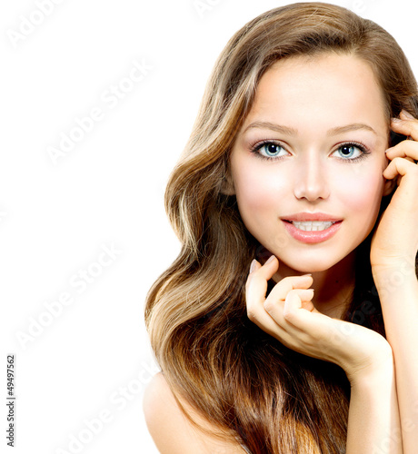Beauty Teenage Girl Portrait isolated on a White Background