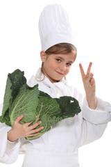 schoolgirl dressed as a cook