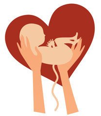 Cute little newborn baby hold in hands