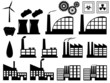 Set of industry buildings illustrated on white background