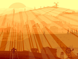 Abstract illustration of village in sunset rays.