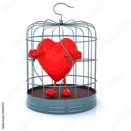 red heart that gets out from cage