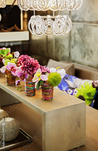 table with home flowers