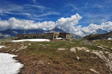 Rests of military barracks in mountain over the col du Mont Ceni