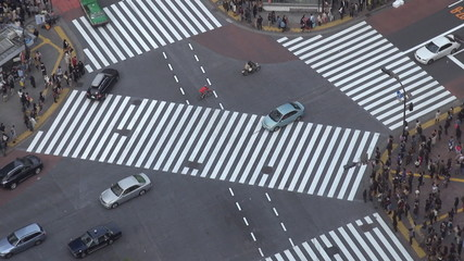 Fast motion of Shibuya pedestrian crossing by day, Tokyo, Japan