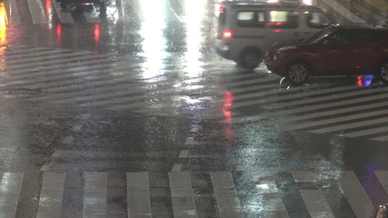 Fast motion of Shibuya car traffic, rainy night,Tokyo,Japan