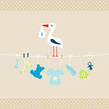 Stork Baby Boy Hanging Symbols Dots Border