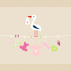 Stork Baby Girl Hanging Symbols Dots Border