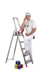 Male decorator with step ladder
