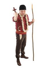Vampire hunter with cross, hawthorn stake and garlic