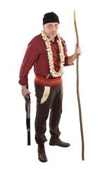 Vampire hunter with rifle, hawthorn stake and garlick