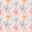 Floral pattern with lily. Hand drawn flowers