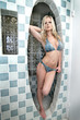 Sexy blond in bikini posing in modern shower