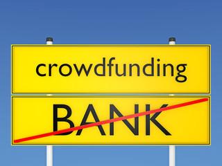 Crowdfunding vs Bank, Konzept Finanzierung - 3D