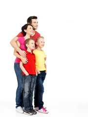 Full portrait of the happy  family with children