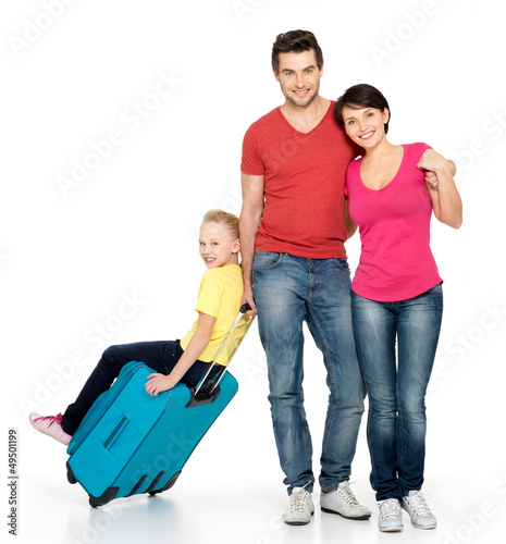 Parent with daughter and suitcase  at studio