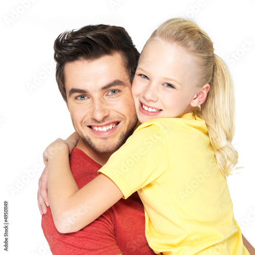 Portrait of the happy father with pretty daughter