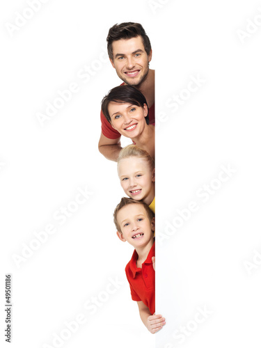 Family with a banner