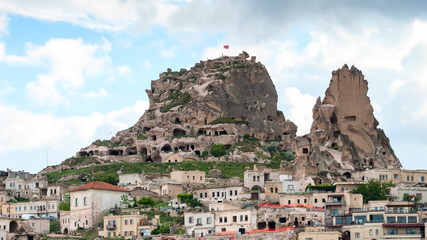 Timelapse view of Uchisar Castle cave houses. Cappadocia, Turkey