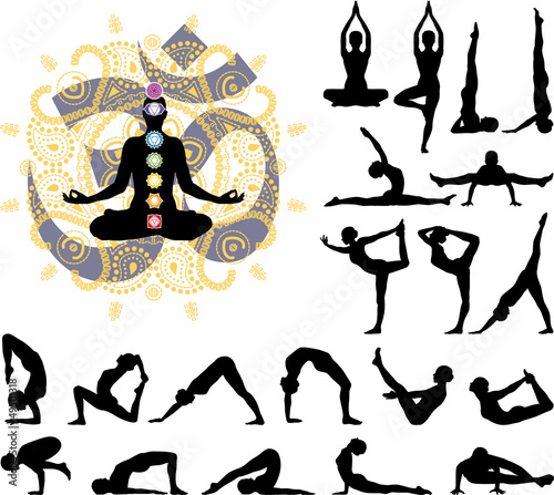 Yoga poses silhouettes