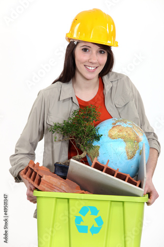 Tradeswoman concerned about the environment